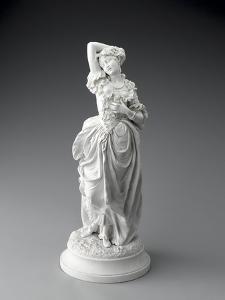 Statuette posée sur un socle rond, jeune femme en costume XVIIIème (sujet Watteau).