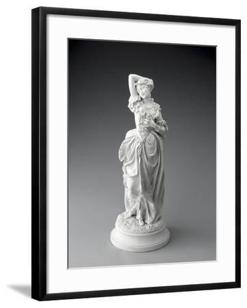 Statuette posée sur un socle rond, jeune femme en costume XVIIIème (sujet Watteau).--Framed Giclee Print