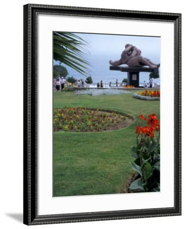 Statute of The Lovers and Ocean in Background, Lovers Park, Miraflores District, Lima, Peru-Cindy Miller Hopkins-Framed Photographic Print
