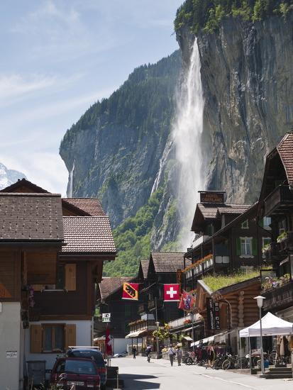 Staubbach Falls in Lauterbrunnen, Jungfrau Region, Switzerland, Europe-Michael DeFreitas-Photographic Print
