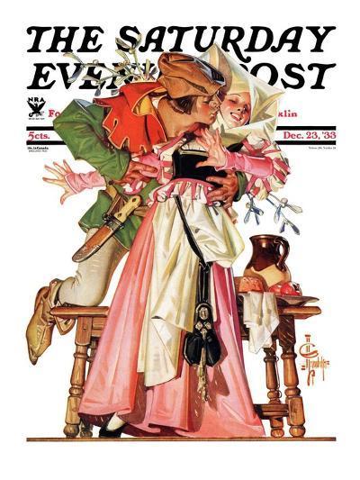 """Stealing a Christmas Kiss,"" Saturday Evening Post Cover, December 23, 1933-Joseph Christian Leyendecker-Giclee Print"