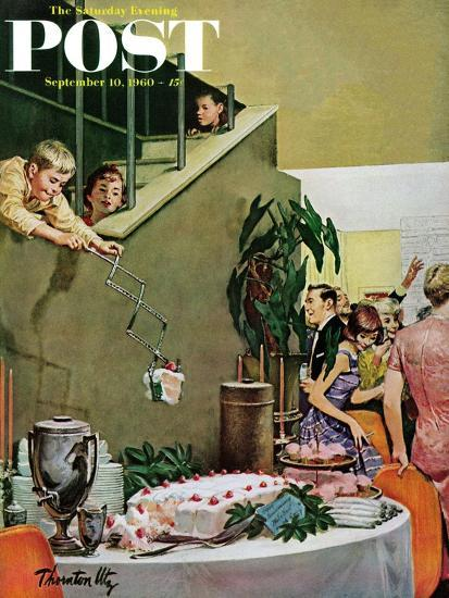 """Stealing Cake at Grownups Party,"" Saturday Evening Post Cover, September 10, 1960-Thornton Utz-Giclee Print"