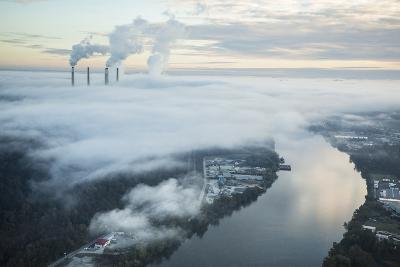 Steam and Smoke Rise from the Cooling Towers and Chimneys of a Power Plant-Robb Kendrick-Photographic Print