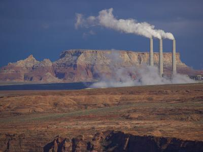 Steam Billows from Chimneys of the Navajo Power Plant-Michael Melford-Photographic Print