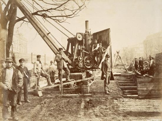 Steam Crane Removing Soil From The Excavation During The Building Of The Circle Line Photographic Print By