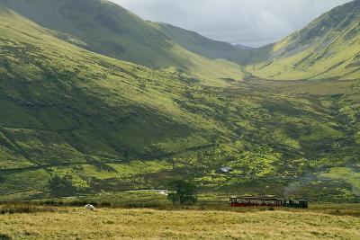 Steam Engine and Passenger Carriage on Trip Down Snowdon Mountain Railway, Gwynedd, Wales-Peter Barritt-Photographic Print