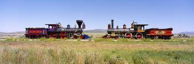 Steam Engine Jupiter and 119 on a Railroad Track, Golden Spike National Historic Site, Utah, USA--Photographic Print