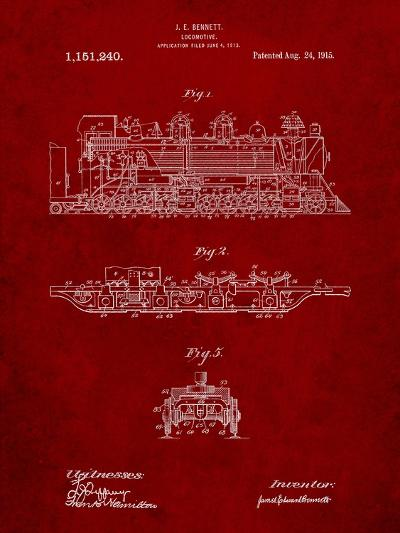 Steam Locomotive 1915 Patent-Cole Borders-Art Print