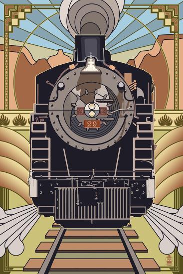 Steam Locomotive - Deco Style-Lantern Press-Art Print