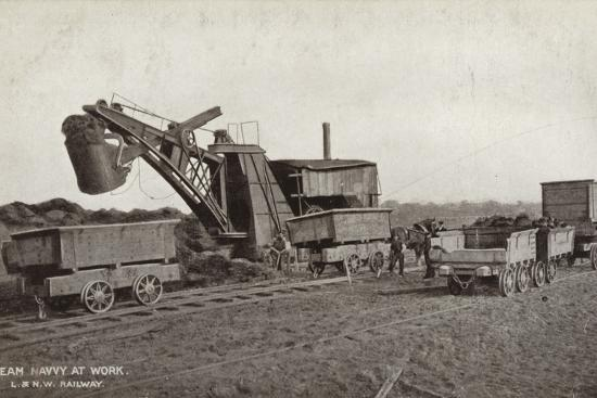 Steam Navvy at Work--Photographic Print