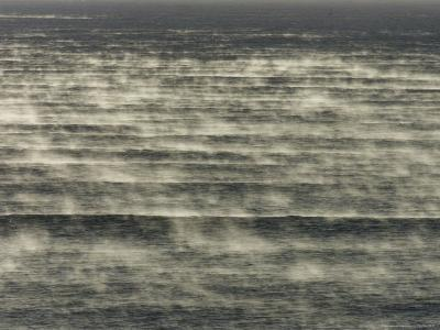 Steam Rises of the Sea at Popular Surf Beach--Photographic Print