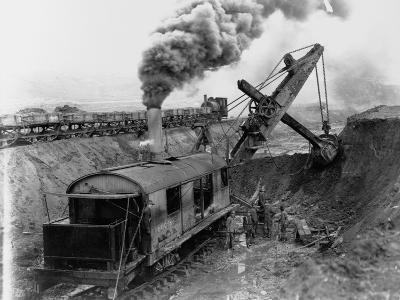 Steam Shovel Digging Ditch for Western Pacific Railroad--Photographic Print