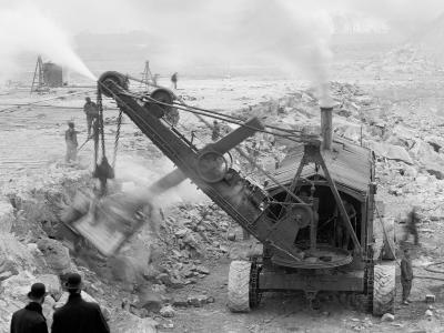 Steam Shovel Removing Rock Loosened by Dynamite, Livingstone Channel, Mich.--Photo