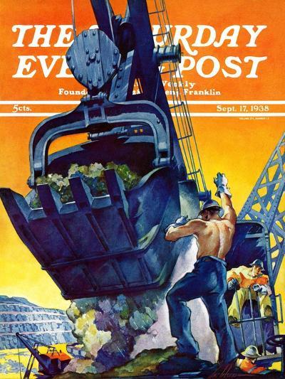 """""""Steam Shovel,"""" Saturday Evening Post Cover, September 17, 1938-Ski Weld-Giclee Print"""