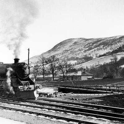 Steam Train Leaving Blair Atholl, 1947-Staff-Photographic Print