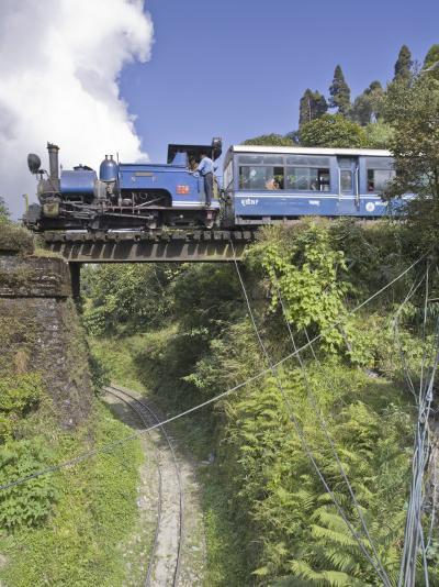 Steam Train of the Darjeeling Himalayan Railway, Batasia Loop, Darjeeling-Jane Sweeney-Photographic Print