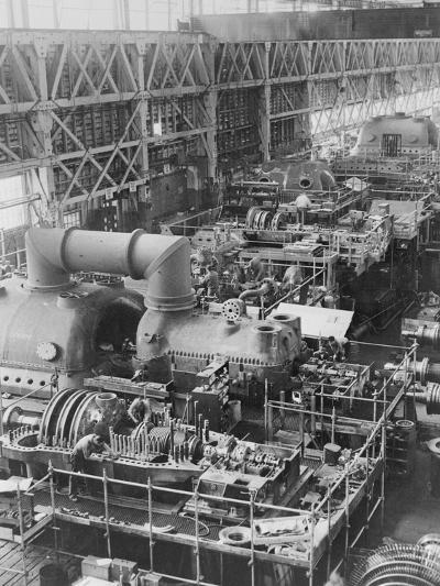 Steam Turbines Being Assembled--Photographic Print