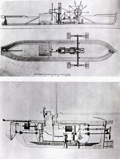 Steamboat and Submarine Plans-Robert Fulton-Giclee Print