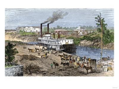 Steamboat Loading Cotton on Buffalo Bayou, Connected to the Gulf of Mexico, Houston, Texas, 1870s--Giclee Print