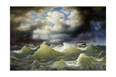 Steamboat on Stormy Water-Johan Knutson-Giclee Print