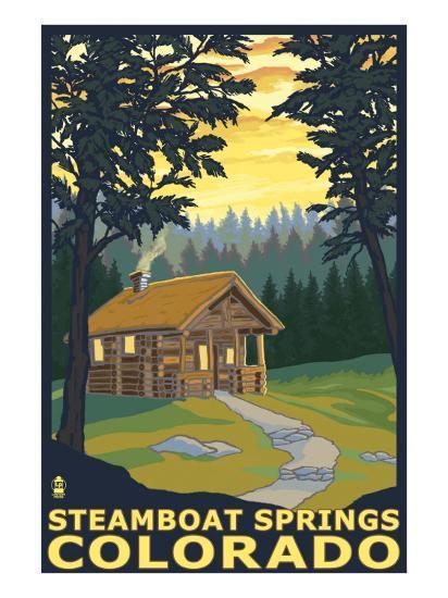 Steamboat Springs, CO - Cabin in Woods-Lantern Press-Art Print