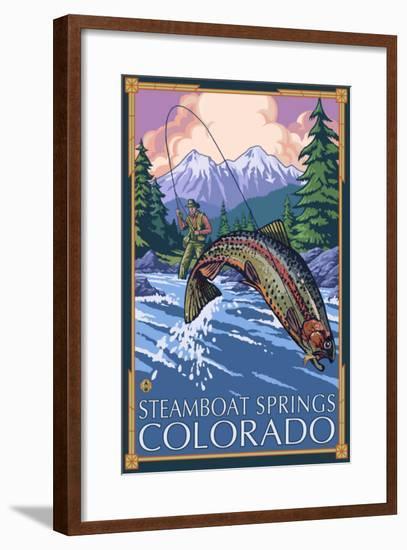 Steamboat Springs, Colorado, Angler Fisherman-Lantern Press-Framed Art Print
