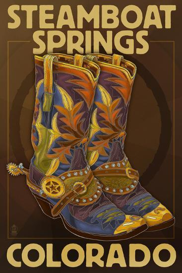 Steamboat Springs, Colorado - Boot Pair-Lantern Press-Art Print