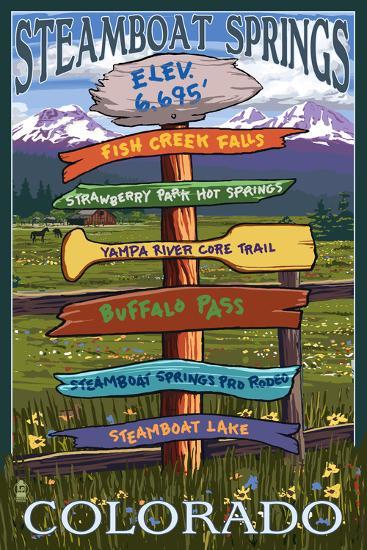 Steamboat Springs, Colorado - Destination Sign-Lantern Press-Art Print