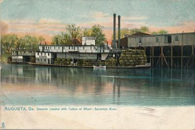 Steamer Loaded with Cotton at a Wharf, Savannah River, Augusta, Georgia, 1908--Giclee Print