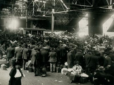 Steamer Passengers Waiting in Dock Building--Photographic Print