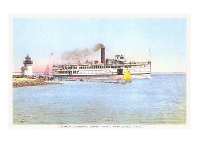 Steamer Rounding Brant Point, Nantucket, Massachusetts--Art Print