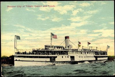 Steamer S.S. City of Toledo, Detroit and Toledo--Giclee Print
