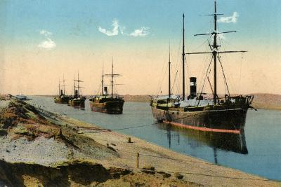 Steamers Passing Through the Suez Canal, Egypt, 20th Century--Giclee Print