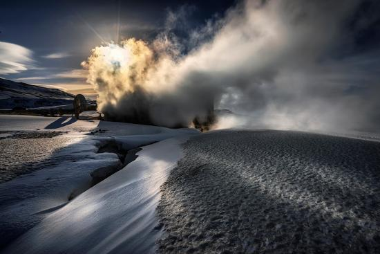 Steaming Boreholes at the Bjarnarflag Geothermal Power Plant in the Winter, Iceland-Ragnar Th Sigurdsson-Photographic Print