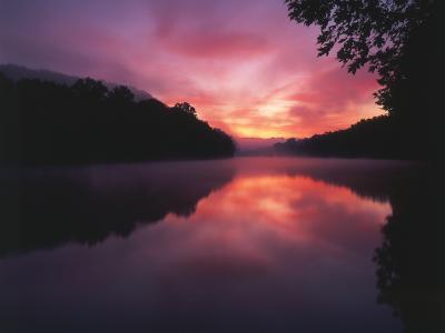 Steaming Kentucky River at Sunrise, Kentucky, USA-Adam Jones-Photographic Print