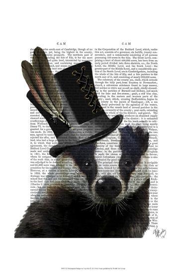 Steampunk Badger in Top Hat-Fab Funky-Art Print