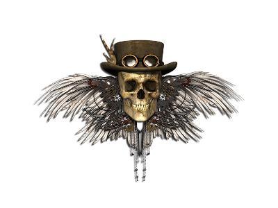 Steampunk Skull-AlienCat-Art Print