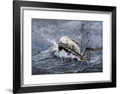 Steamship Carrying Grain on Lake Erie in a Snowstorm, Headed for Buffalo, New York, 1880s--Framed Giclee Print