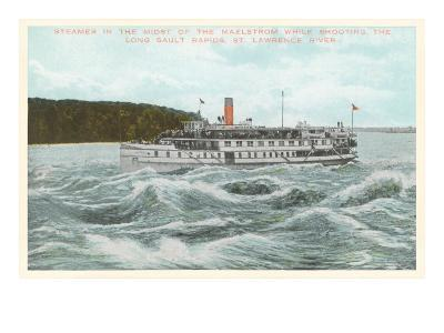 Steamship in Rapids on St. Lawrence River, New York--Art Print