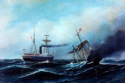 Steamship Neckar Rescuing Crew of Burning Vessel-Antonio Jacobsen-Giclee Print