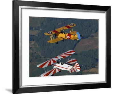 Stearman Model 75 Biplanes Flying over Vacaville, California-Stocktrek Images-Framed Photographic Print