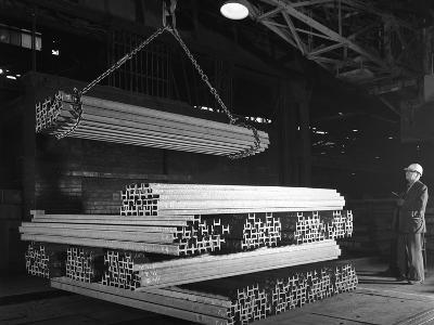 Steel H Girders Being Stacked for Distribution, Park Gate, Rotherham, South Yorkshire, 1964-Michael Walters-Photographic Print