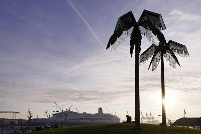 Steel Palms in Front of Harbour Cranes, Silhouettes, Backlight, Park Fiction, St Pauli-Axel Schmies-Photographic Print