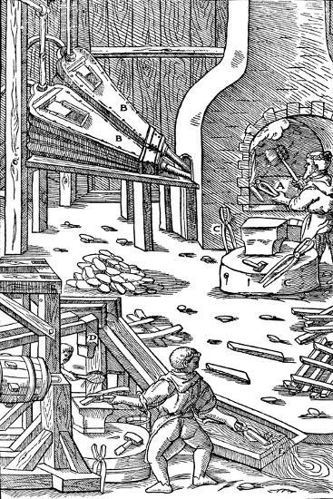 Steel Production: a Forge with Bellows to Produce Draught, 1556--Giclee Print
