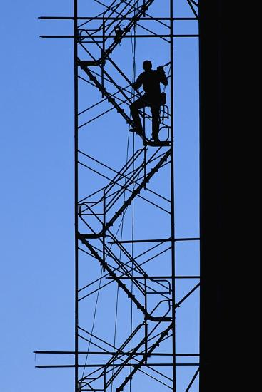 Steelworker Assembling Scaffolding--Photographic Print