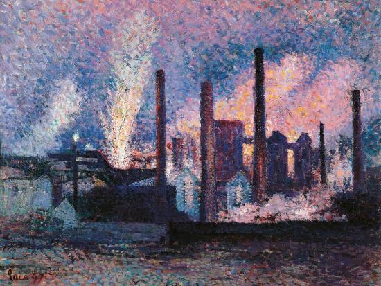 Steelworks near Charleroi-Maximilien Luce-Art Print
