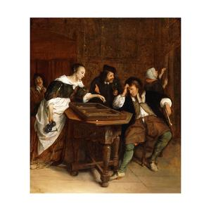 Gentlefolk Playing Backgammon in an Interior by Steen Jan