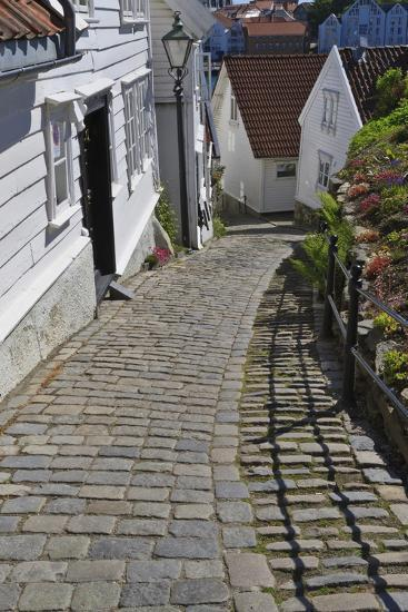 Steep Cobbled Street and White Wooden Houses-Eleanor Scriven-Photographic Print