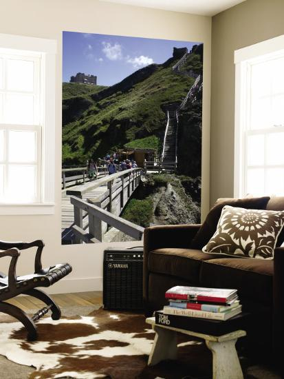 Steep Wooden Steps Up to Tintagel Castle.-Doug McKinlay-Wall Mural
