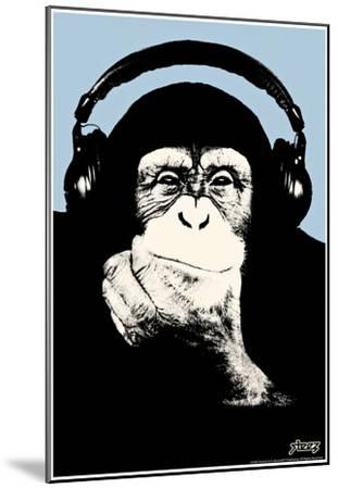 Steez Headphone Chimp - Blue Art Poster Print
